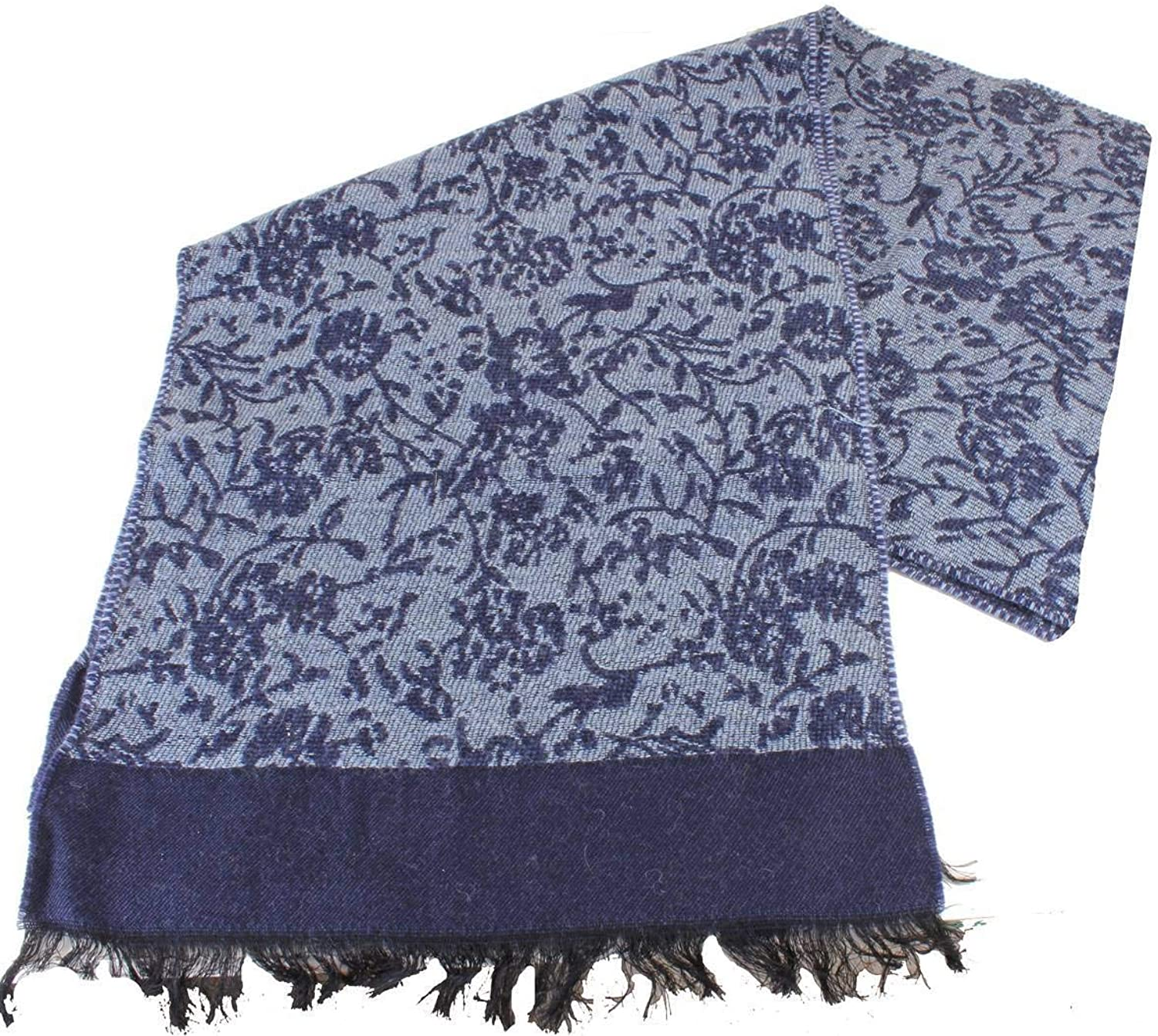 Bassin and Brown Womens Bonsai House Self Flower Wool Scarf  Navy bluee