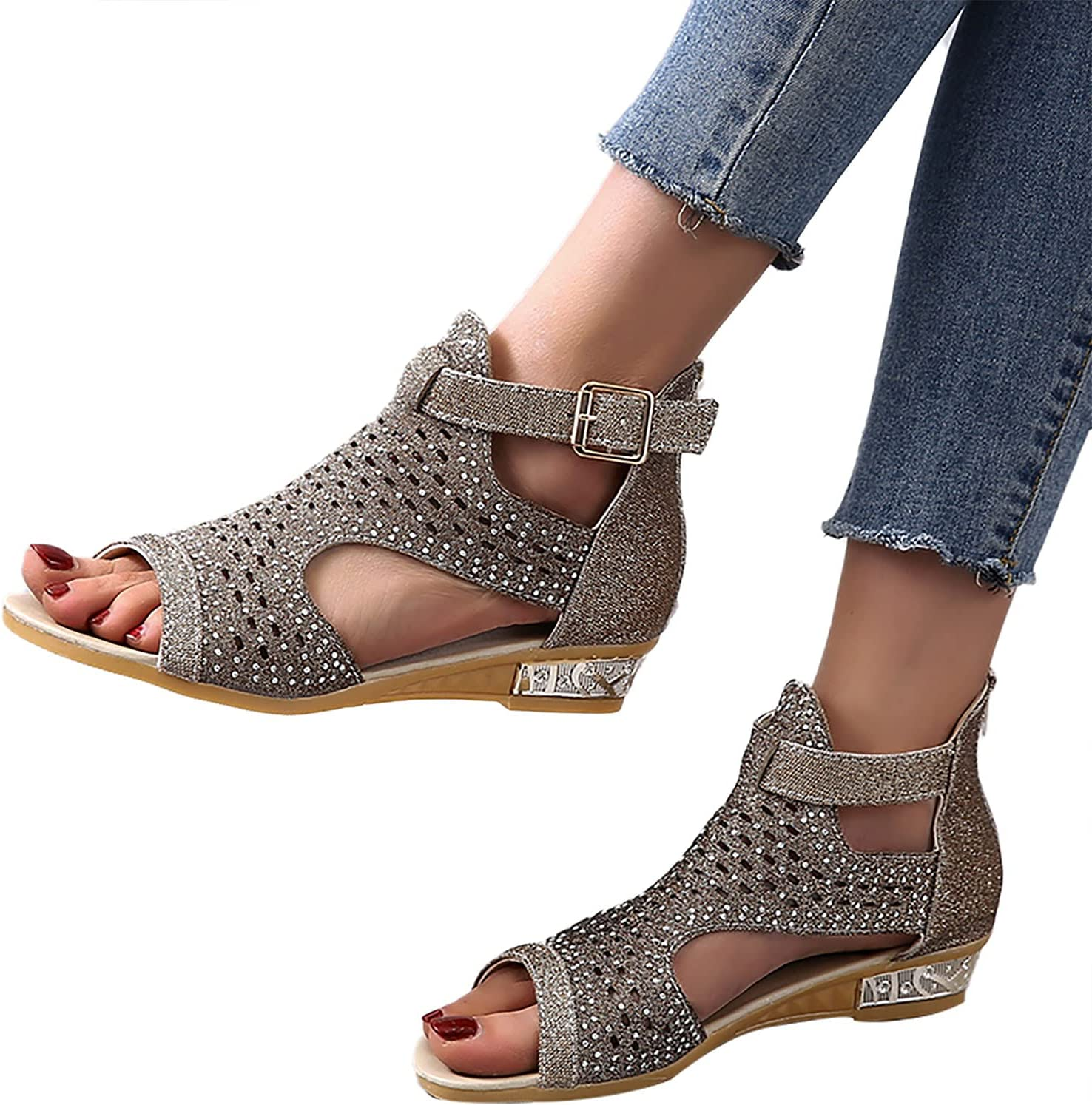 XUELIXIANG Women Flat Sandals Ladies Mout Hollow Fish Popular Price reduction product Rhinestone