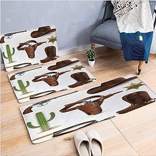 3 Piece Non-Slip Doormat 3D Print for Door mat Living Room Kitchen Absorbent Kitchen mat,Sheriff of The Town Belt Boots Cactus and,15.7