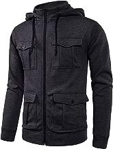 LOCALMODE Men's Double Zipper Hooded Jacket Turtleneck Fleece Hoodie Coat