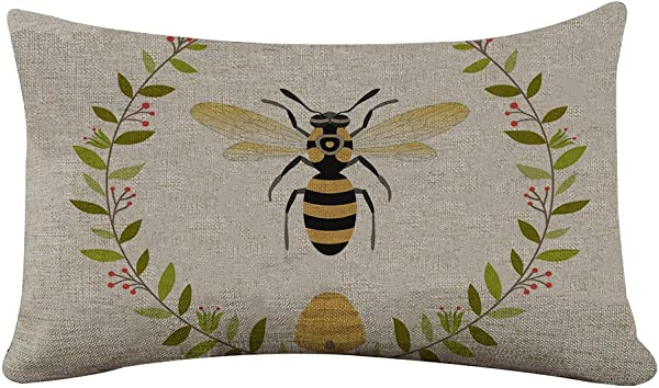 Yilooom Rectangle Pillowcase Cover Vintage French Queen Bee Pattern Lumbar Pillow Covers Cases 12x18 Inches
