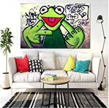 DZXGY Street Graffiti Art Frog Kermit Finger Poster Print Canvas Painting Animal Oil Painting Wall Pictures for Living Room (No Frame) 70X110cm