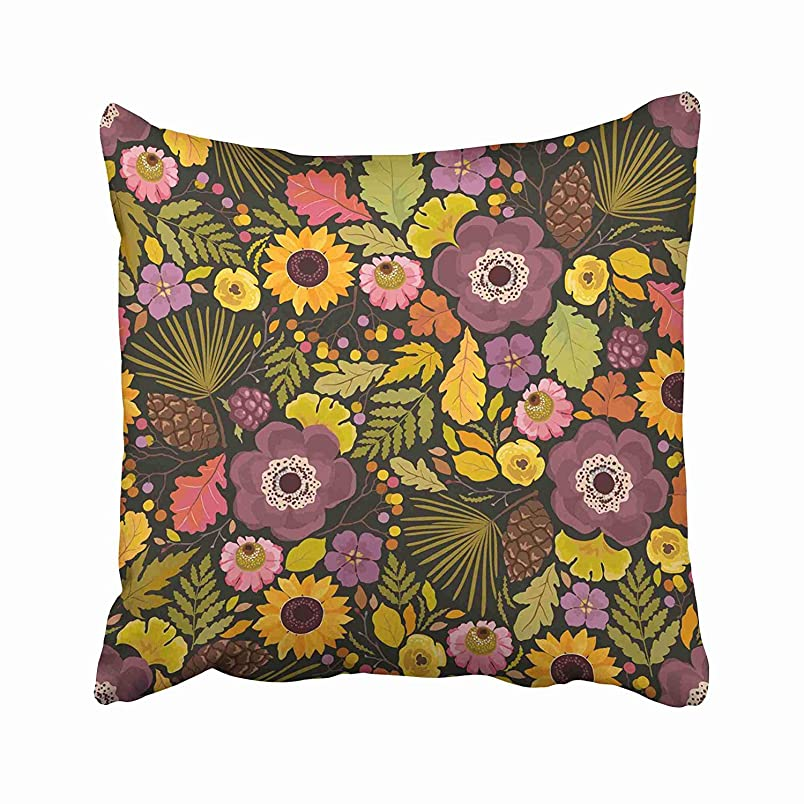 GETTOGET Green Autumn Pattern with Flowers Anemones Pine Cones and Leaves Colorful in Rustic Style on Dark Orange Pillow Cases Personalized Throw Pillow Cover for Sofa Home Room Bed 22x22 in iq932614236
