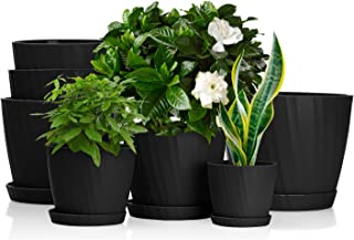 EBBCOWRY 7 Pack Flower Pots with Saucers, 3.5/4.5/5.5/6/6.5/7 /7.5in Plant Pot,Plastic Planters,Pots for Plants Indoor wit...