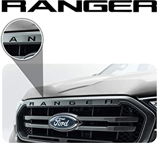 Bogar Tech Designs - Letter Inlay Overlay Decal Sticker Vinyl Letters for Front Hood Grille Compatible with Ford Ranger 2019, Matte Black