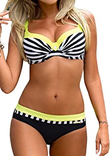 9311747beaa37 Voqeen Women Gradient Color Bikini Sets Retro Push up Two Piece Padded Polka  Dot/Striped