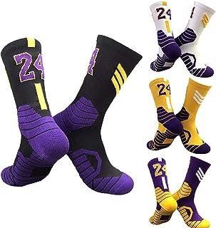 Kobe calcetines No.24 Mens tripulación calcetines jugador de baloncesto no Slip deportivo deporte alto tobillo calcetines 4 par
