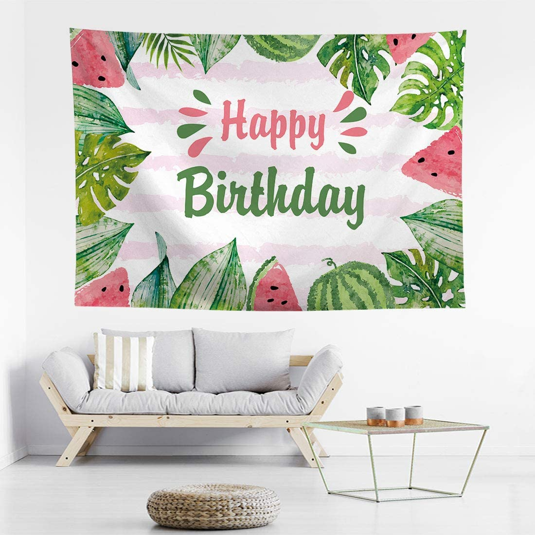 Allenjoy Watermelon Summer Happy Birthday Backdrops Kids Girl One in a Melon 1st Bday Party Table Banner Decorations Infant Newborn Portrait Photo Booth Props 7X5ft Photoshoot Background for Pictures