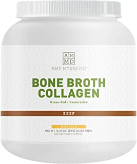 Dr Amy Myers Beef Bone Broth Collagen Powder - Type II Collagen Protein Powder from Organic Beef Bone Broth - Supports Hai...