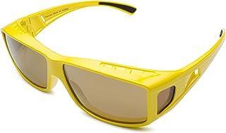 Mr.O Fitover Polarized Sunglasses + Ultra thick Microfiber Pouch (Stylish yellow, Light brown w/gold Revo)