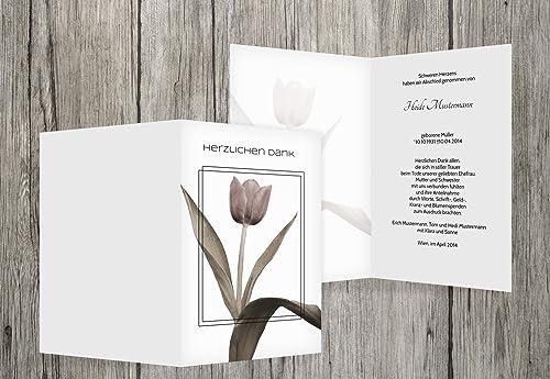 punto de venta de la marca Tarjetas de agradecimiento luto tulipán, blanco, 100 100 100 Karten  barato y de alta calidad