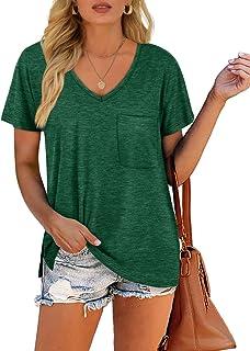 Women's V Neck Short Sleeve T-Shirts Side Split Pocket...
