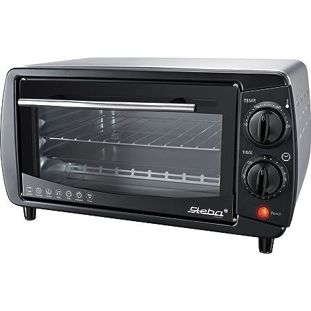 Steba KB 9.2 - Mini horno, Eléctrico, 9 L, 800 W, 2 niveles de cocción, carcasa de acero inoxidable