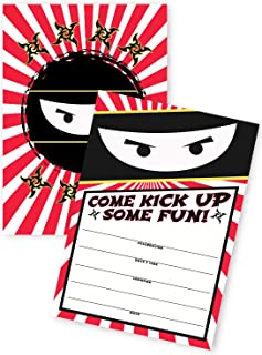 POP parties Ninja 20 Invitations - 20 Invitations + 20 Envelopes - Double Sided - Karate Ninja Party Supplies