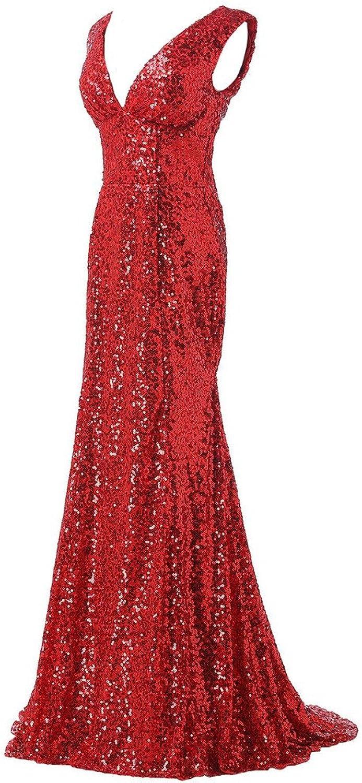 Lemai Women's Shiny Sequined Mermaid V Neck Formal Long Evening Prom Dresses