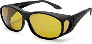 Haven Fits Over Sunwear Meridian Over-Prescription Sunglasses,Black Frame/Yellow Lens,one size