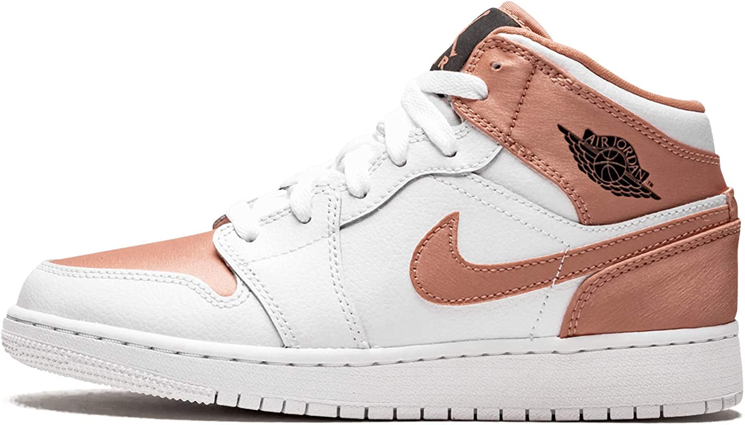 Amazon.com | Jordan Air 1 Mid Gs (White/Rose Gold-Black 5.5Y ...