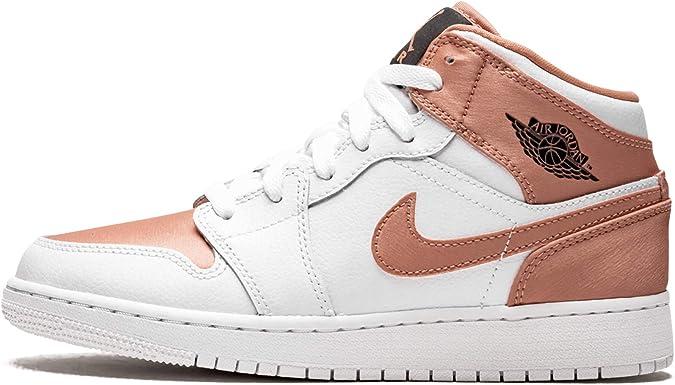 Nike Air Jordan 1 Mid (GS), Chaussures de Basketball Fille, Blanc ...