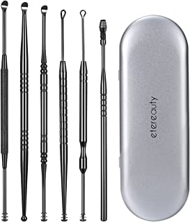 Ear Wax Removal, ETEREAUTY Ear Pick Cleaner Stainless Steel Medical Grade 6 Pieces with Storage Box and Cleaning Brush