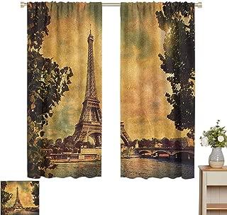 June Gissing Eiffel Tower DIY Curtain for Living Room Eiffel Tower Trees River Bridge Water Daytime Landmark Oil Painting Design Microfiber Window Panel Pair W63 x L63 Brown Mustard