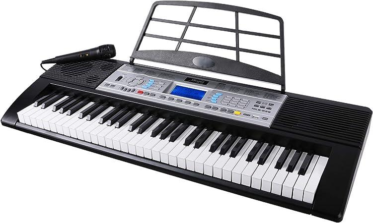 Teclado musical, piano eléctrico de 61 teclas, teclados electrónicos con 61 teclas, una pantalla LCD multifunción, micrófono