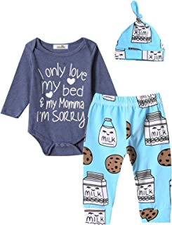3Pcs Outfit Set Baby Boy Funny Letter Print Milk and Cookies Bodysuit with Hat