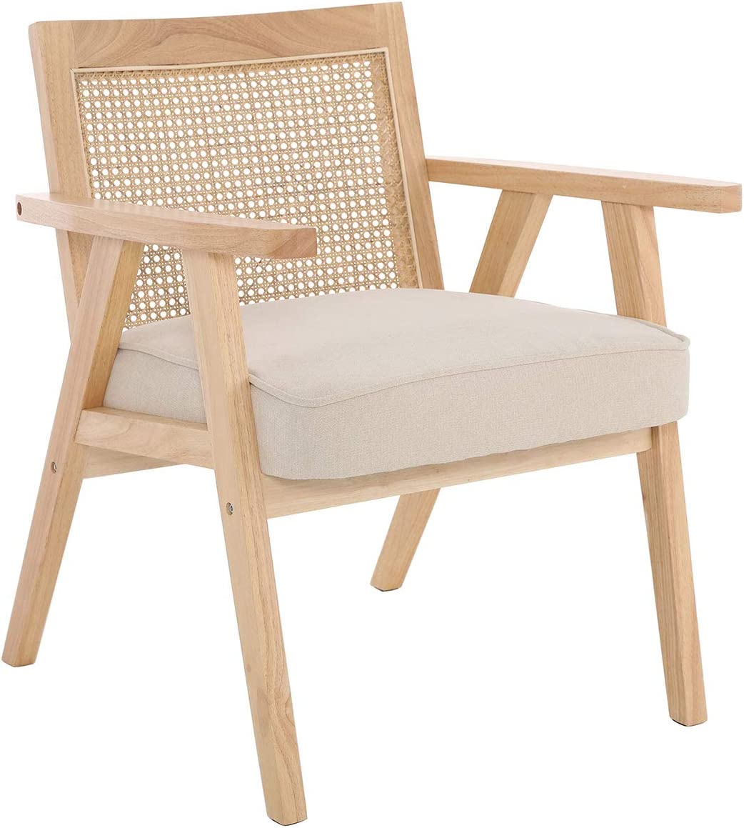 Spring new work one after another ZH4YOU Mid-Century Modern Cane Back Fabric Ac Tucson Mall Chenille Armchair