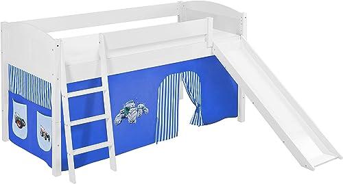 Lilokids Spielbett IDA 4106 Trecker Blau - Teilbares Systemhochbett Weiß - mit Rutsche und Vorhang