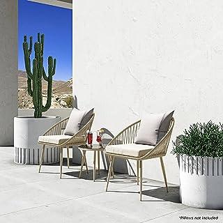 Outdoor Modern Wicker Conversation Set UV-Resistant Rope Garden Furniture, Beige