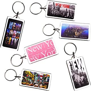 Ultimate Collectible Rectangle New York NY NYC Manhattan Landmarks Photo Keychain Key Ring Gift Souvenir Set (6pk)