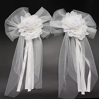 Advantez Pearl Bud Silk Ribbon Flower Wedding Party Decoration,Bridal Car,Wedding Car Decoration 4packs