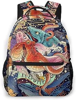 Japanese Undersea World Octopus Fish Art Rucksacks, Large Capacity Bookbag Travel Hiking Bag & Day Pack, School Daypack Backpack Casual Daypack Climbing Shoulder Bag Laptop Book Rucksack