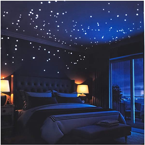CASTELBELBO Realistic 3D Domed Glow In The Dark Star 600 Dots For Starry Sky Perfect For Kids Bedding Room Gift 606 Stars Blue