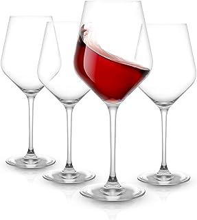 JoyJolt Layla Red Wine Glasses, Set of 4 Italian Wine Glasses, 17 oz Clear Wine Glasses – Made in Europe