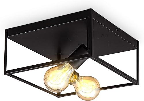 B.K.Licht plafonnier cage métal noir, pour 2 ampoules E27 de max 60W, ampoules non incluses, éclairage plafond vintag...