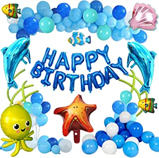 Under The Sea Party Decorations, BIQIQI Ocean Theme Party Supplies with Dolphin Octopus Starfish Shell Blue Happy Birthday...