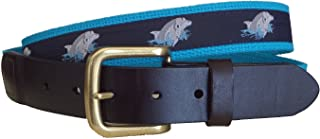 No27 Mens Dolphins Leather Belt, Leather Tab and Buckle, Gray and Blue Dolphins on Navy Ribbon Novelty Leather Belt or D Ring