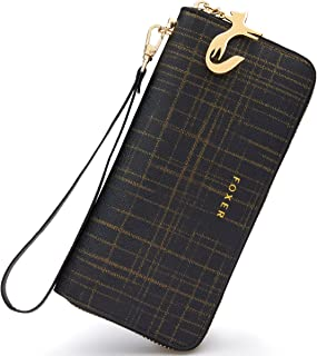 Women Leather Wallet Bifold Wallet Clutch Wallet with Wristlet Card Holder