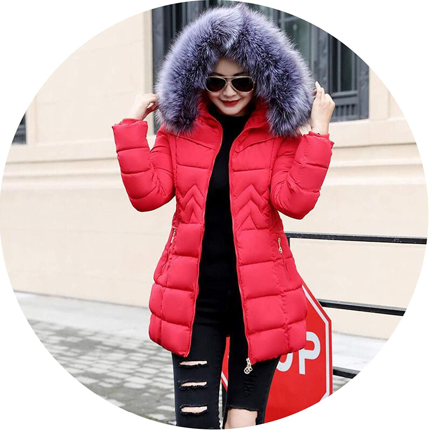 Hooded Coat Winter Jacket Larger Fur Collar Winter Jacket Women Coat Cotton Padded