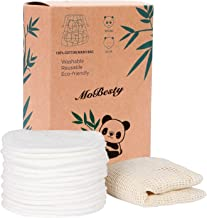 MOBESTY 16 Reusable Makeup Remover Pads - Washable Organic Cotton, Bamboo Natural Organic Material - Sustainable, Eco-Frie...