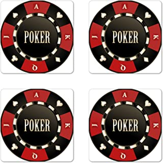 Lunarable Poker Tournament Coaster Set of 4, Casino Chip with Poker Word in Center Rich Card Suits Print, Square Hardboard Gloss Coasters, Standard Size, Green Vermilion