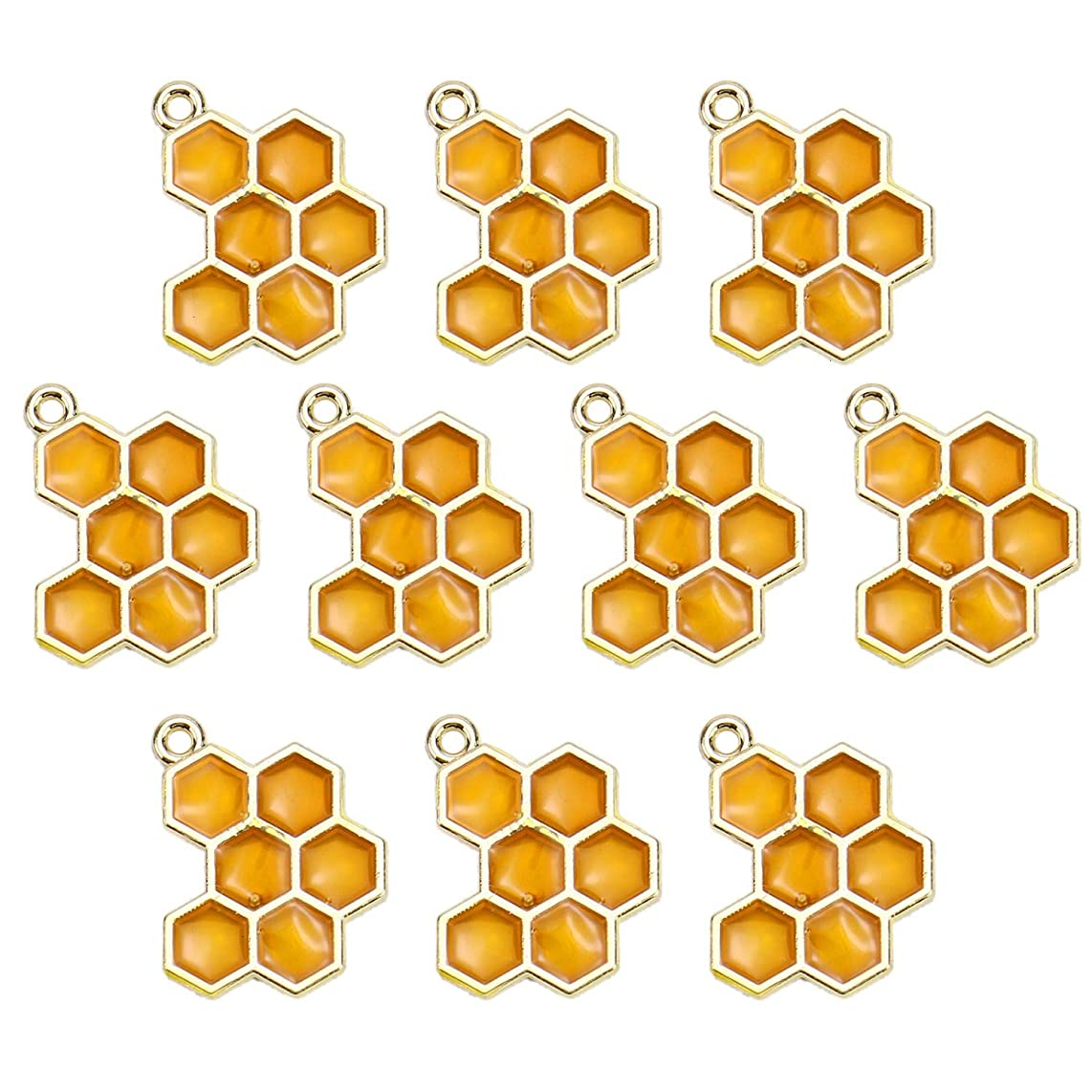 Monrocco 10pcs Enamel Honey Bee Charms Honeycomb Charm for Jewelry Making Bracelets DIY 20x15mm