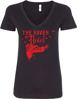 The Raven Hotel Women's Vneck T-Shirt - Black New