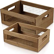 Set of 2 Nesting Countertop Baskets - Wooden Organizer Crates for Kitchen, Bathroom, Pantry | For Fruit, Vegetables, Produ...
