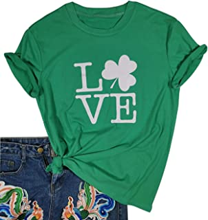 St. Patrick's Day Love Shamrock T Shirt Women Cute Graphic Tee Short Sleeve Tops St Patricks Day Tshirt