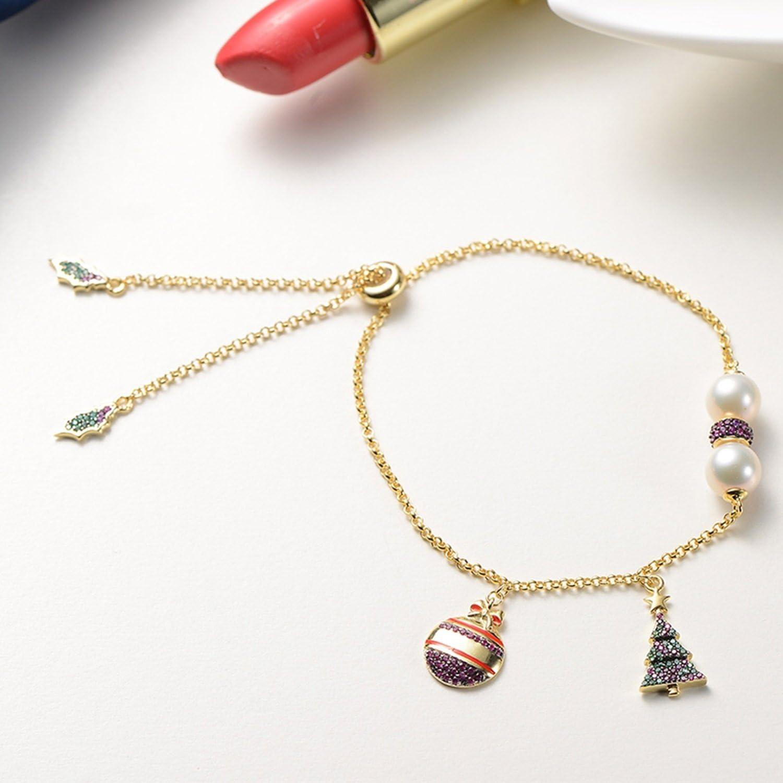 Epinki 925 Sterling Silver Bracelet Ladies Christmas Tree Pearl Bracelet Elegant Bracelets
