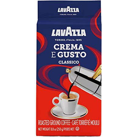 Lavazza Crema E Gusto Ground Coffee Blend, Espresso Dark Roast, 8.8 Oz Bricks (Pack of 4)