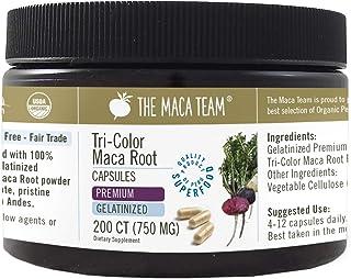 The Maca Team Gelatinized Premium Organic Maca Root Capsules – Certified Organic, GMO- and Gluten-Free, 750 mg, 200 Ct