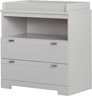 South Shore Reevo Changing Table and Dresser with Drawers, Soft Gray