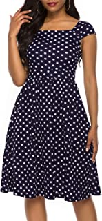 Women's Vintage 1950s Cap Sleeve A-Line Floral Dress with Pockets Knee-Length Casual Party Cocktail Dress